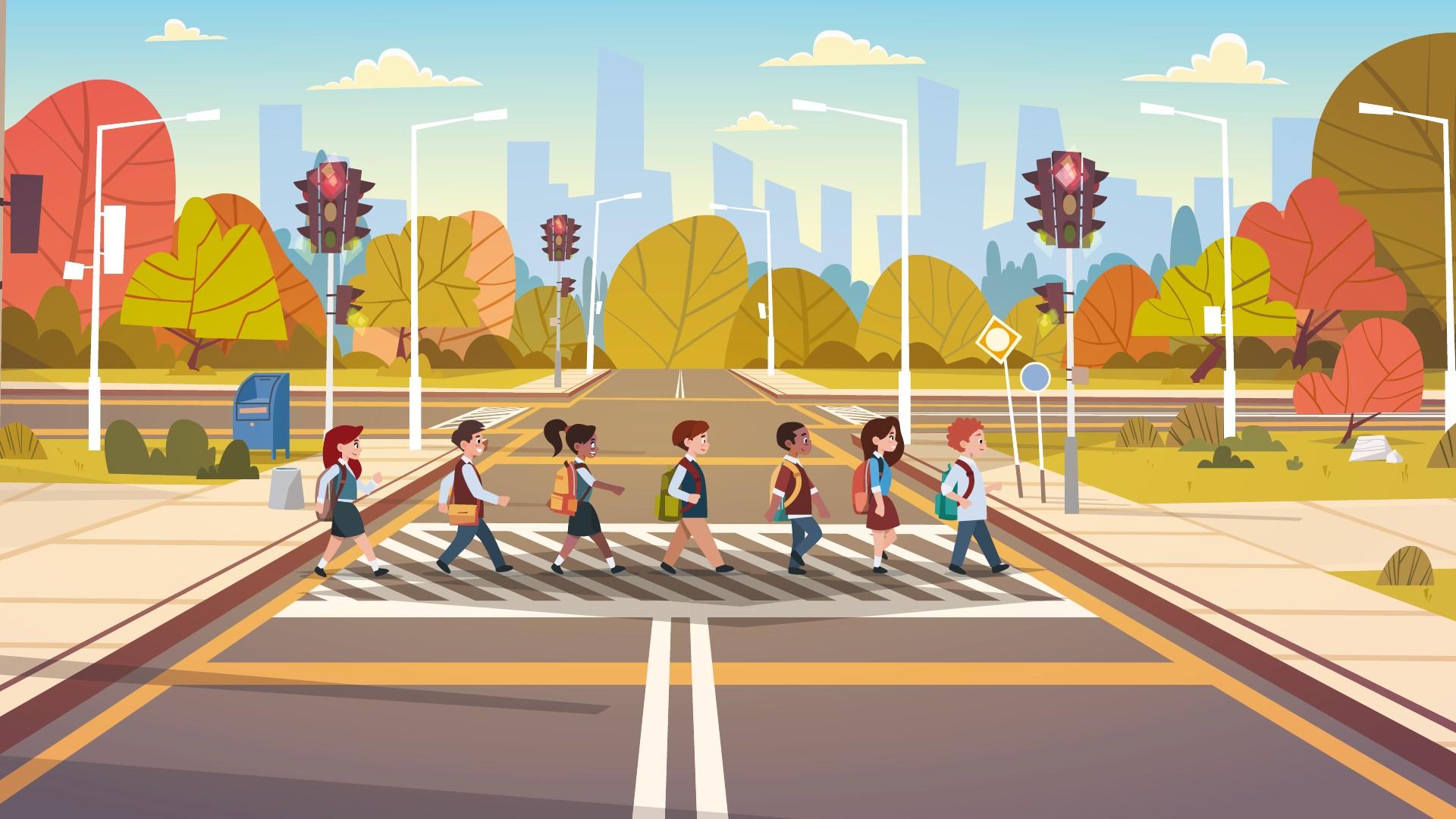 Bambini che attraversano la strada in fila